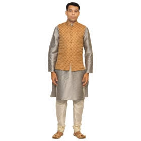 Amg Men's Silk  Copper Gold Waiscoat,gray Kurta,off White Pajama Set_amg-3038