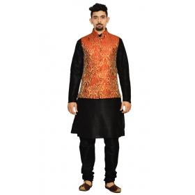 Amg Men's Silk Red Gold Waiscoat,black Kurta,black Pajama Set_amg-3040