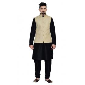 Amg Men's Silk Cream Waiscoat,black Kurta,black Pajama Set_amg-3042
