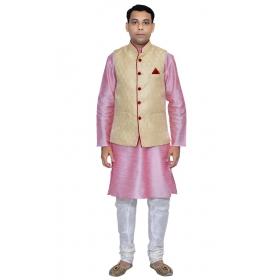 Amg Men's Silk Dark Gold Waiscoat,pink Kurta,white Pajama Set_amg-3044