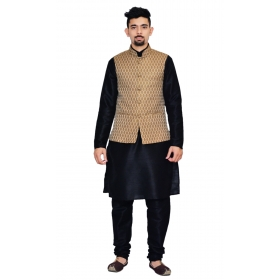Amg Men's Silk Copper Gold Waiscoat,black Kurta,black Pajama Set_amg-3045