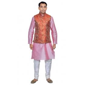 Amg Men's Silk Red Gold Waiscoat,pink Kurta,white Pajama Set_amg-3046