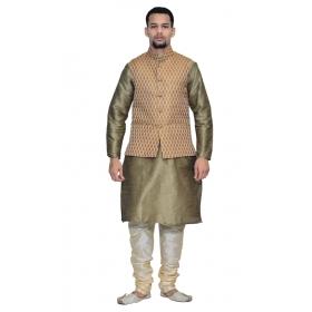 Amg Men's Silk Copper Gold Waiscoat,copper Gold Kurta,gold Pajama Set_amg-3053