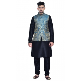 Amg Men's Silk Royel Blue Gold Waiscoat,black Kurta,black Pajama Set_amg-3054