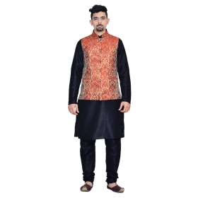 Amg Men's Silk Red Gold Waiscoat,black Kurta,black Pajama Set_amg-3057