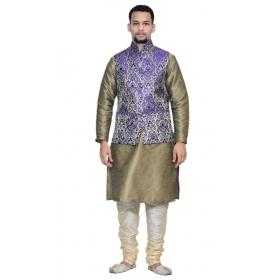 Amg Men's Silk Blue Gold Waiscoat,copper Kurta,gold Pajama Set_amg-3059