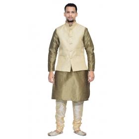 Amg Men's Silk Cream Waiscoat,copper Kurta,gold Pajama Set_amg-3062