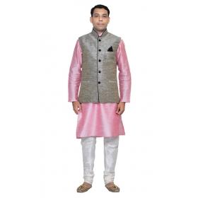 Amg Men's Silk Black Waiscoat,pink Kurta,white Pajama Set_amg-3063