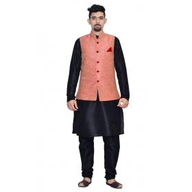 Amg Men's Silk Pink Waiscoat,black Kurta,black Pajama Set_amg-3066