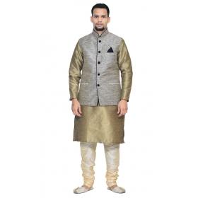 Amg Men's Silk Black Waiscoat,copper Kurta,gold Pajama Set_amg-3068