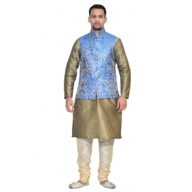 Amg Men's Silk Royel Blue Gold Waiscoat,copper Kurta,gold Pajama Set_amg-3071