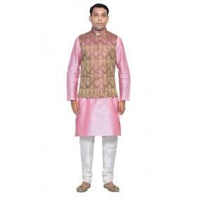 Amg Men's Silk Violet Gold Waiscoat,pink Kurta,white Pajama Set_amg-3072