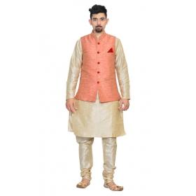 Amg Men's Silk Pink Waiscoat,multi Dupin Kurta,multi Dupin Pajama Set_amg-3074