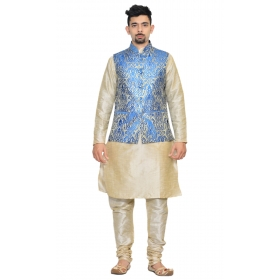 Amg Men's Silk Royel Blue Gold Waiscoat,multi Dupin Kurta,multi Dupin Pajama Set_amg-3076