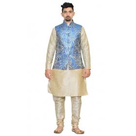 Amg Men's Silk Royel Blue Gold Waiscoat,multi Dupin Kurta,multi Dupin Pajama Set_amg-3076