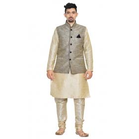 Amg Men's Silk Black Waiscoat,multi Dupin Kurta,multi Dupin Pajama Set_amg-3077