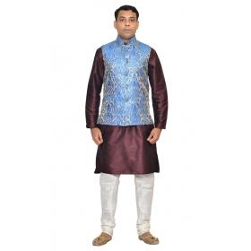 Amg Men's Silk Royel Blue Gold Waiscoat,violet Kurta,white Pajama Set_amg-3080