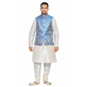 Amg Men's Silk Royel Blue Gold Waiscoat,white Kurta,white Pajama Set_amg-3083