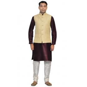 Amg Men's Silk Cream Waiscoat,violet Kurta,white Pajama Set_amg-3084