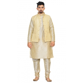 Amg Men's Silk Cream Waiscoat,multi Dupin Kurta,multi Dupin Pajama Set_amg-3085