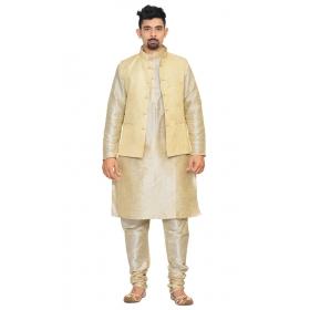 Amg Men's Silk Cream Waiscoat,multi Dupin Kurta,multi Dupin Pajama Set_amg-3085