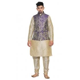 Amg Men's Silk Blue Gold Waiscoat,multi Dupin Kurta,multi Dupin Pajama Set_amg-3087