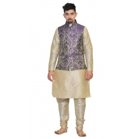 Amg Men's Silk Blue Gold Waiscoat,multi Dupin Kurta,multi Dupin Pajama Set_amg-3087