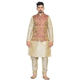 Amg Men's Silk Violet Gold Waiscoat,multi Dupin Kurta,multi Dupin Pajama Set_amg-3088