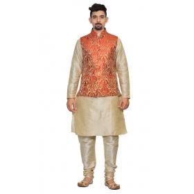 Amg Men's Silk Red Gold Waiscoat,multi Dupin Kurta Pajama Set_amg-3096