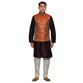 Amg Men's Silk Red Gold Waiscoat,voilet Kurta,white Pajama Set_amg-3102