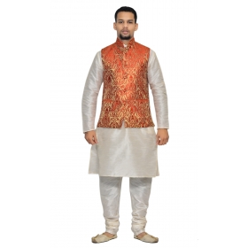 Amg Men's Silk Red Gold Waiscoat,white Kurta Pajama Set_amg-3103
