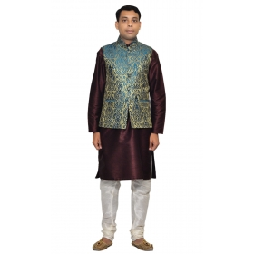 Amg Men's Silk Green Gold Waiscoat,voilet Kurta,white Pajama Set_amg-3104