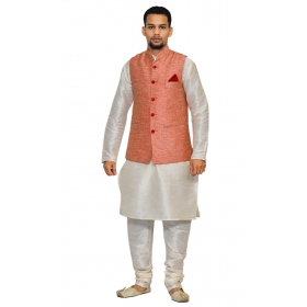 Amg Men's Silk Pink Waiscoat,white Kurta Pajama Set_amg-3106