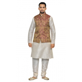 4fc73198bb Amg Men's Silk Voilet Gold Waiscoat,white Kurta Pajama Set_amg-3109