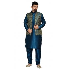 Amg Men's Silk Green Gold Waiscoat,third Blue Kurta Pajama Set_amg-3110