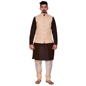 Amg Men's Silk Cream Waiscoat,brown Kurta,gold Pajama Set_amg-3115