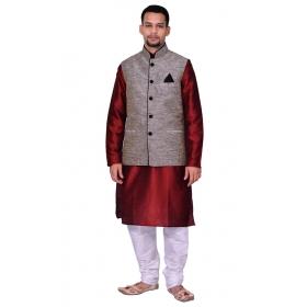 Amg Men's Silk Black Waiscoat,maroon Kurta,white Pajama Set_amg-3116