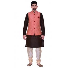 Amg Men's Silk Pink Waiscoat,brown Kurta,gold Pajama Set_amg-3117