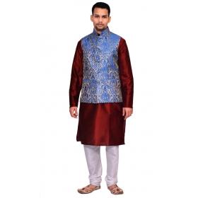Amg Men's Silk Royel Blue Gold Waiscoat,maroon Kurta,white Pajama Set_amg-3120
