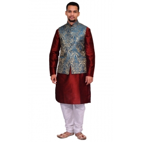 Amg Men's Silk Green Gold Waiscoat,red Kurta,white Pajama Set_amg-3122