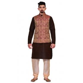 Amg Men's Silk Voilet Gold Waiscoat,brown Kurta,gold Pajama Set_amg-3123