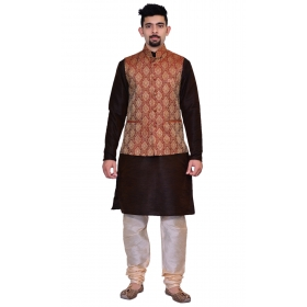 Amg Men's Silk Maroon Gold Waiscoat,brown Kurta,gold Pajama Set_amg-3125