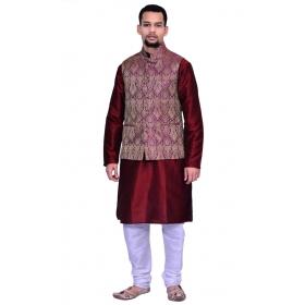 Amg Men's Silk Voilet Gold Waiscoat,maroon Kurta,white Pajama Set_amg-3126