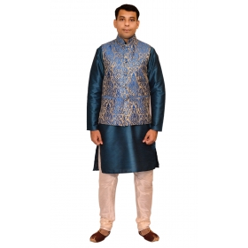 Amg Men's Silk Royal Blue Gold Waiscoat,green Kurta,gold Pajama Set_amg-3129