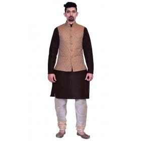 Amg Men's Silk Copper Gold Waiscoat,brown Kurta,gold Pajama Set_amg-3130