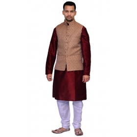 Amg Men's Silk Copper Gold Waiscoat,maroon Kurta,white Pajama Set_amg-3133