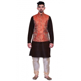 Amg Men's Silk Red Gold Waiscoat,brown Kurta,gold Pajama Set_amg-3134