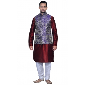 Amg Men's Silk Blue Gold Waiscoat,maroon Kurta,white Pajama Set_amg-3140