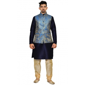 Amg Men's Silk Royel Blue Gold Waiscoat,dark Blue Kurta,gold Pajama Set_amg-3142
