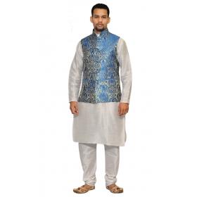 Amg Men's Silk Royel Blue Gold Waiscoat,white Kurta Pajama Set_amg-3145